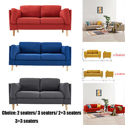 Fabric Sofa 2 Seater Sofa Set / 3 Seater Sofa Suite Couch Sette Grey Beige Blue