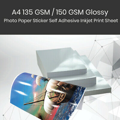 A4 135 GSM / 150 GSM Glossy Photo Paper Sticker Self Adhesive Inkjet Print Sheet