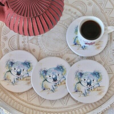 Vibrant Koala White Ceramic Coasters - Set of 4 Wine Tea Coffee Kitchen Placemat