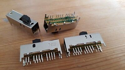 6P3T PCB mount 24-pin 6 Pole, 3 Position Slide switch. Type SS63D01