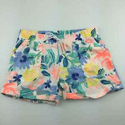 Girls size 10, Emerson, lightweight cotton floral shorts, elasticated, GUC