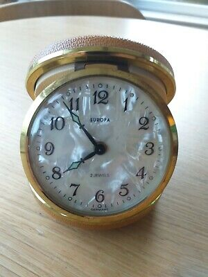 Vintage Europa Stylish 2 Jewels Travel Alarm Clock With Pearlescent Face