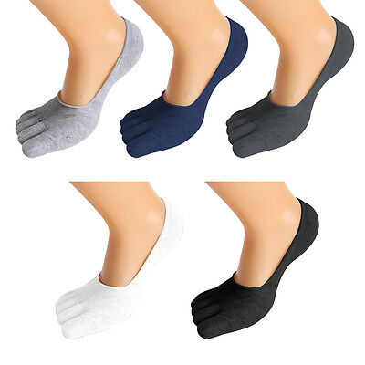 1/5 Pairs Men Invisible Cotton Toe Five Finger Low Cut Socks Breathable Sports
