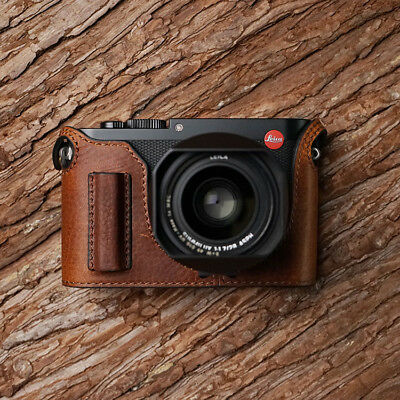 Genuine Real Leather Half Camera Case Bag Cover for Leica Q Typ 116 Brown Handle