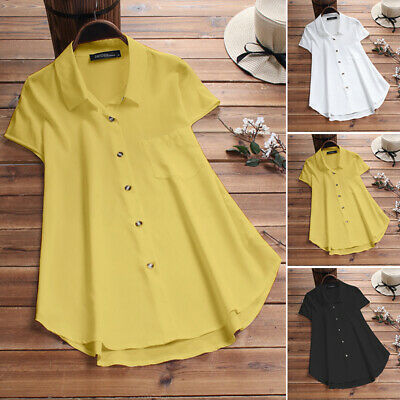 ZANZEA Damenmode Casual Tee Button Kurzarm Collared Beach Loose Shirts Tops Blus