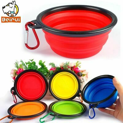 Puppy Bowls Silicone Travel Pet Feeding Bowl Dog Collapsible Water Dish Cat Port