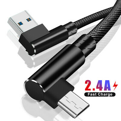 90° Right Angle Micro USB Strong Braided Fast Charging Data Cable For Android 2M