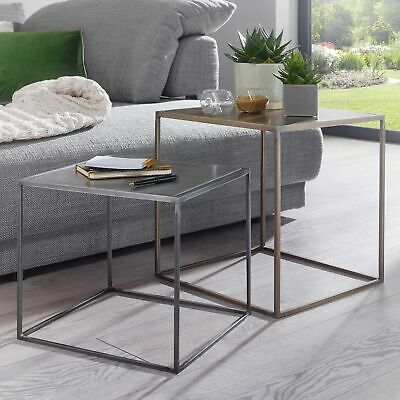 FineBuy Two-piece set sofa table coffee table nesting tables copper brass zinc