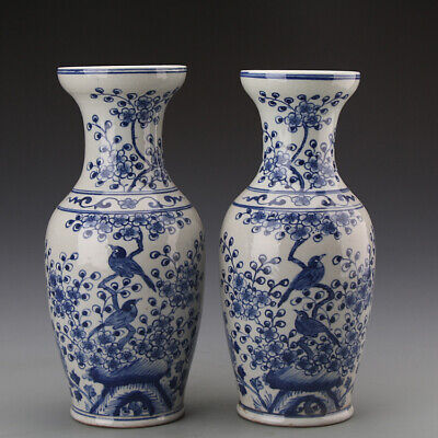 """11"""" China Antique Porcelain Blue white painting flowers and birds Vase A pair"""