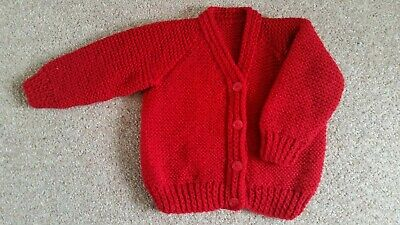 Baby Cardigan, Hand Knitted, Red, 3-6 Months, New