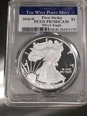 2018-W American Silver Eagle Proof PCGS PR 70 DCAM First Strike West Point Label
