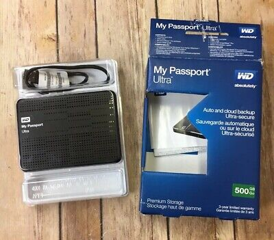 WD 500GB MY Passport Ultra Portable Hard Drive USB WX71A73U5083 OPEN BOX  2 0 3 0
