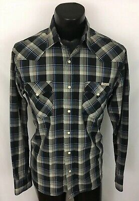 a4cdc3bd Lucky Brand Mens Western Button Up Shirt Plaid Gray Blue Pearl Snap Cowboy  L D31