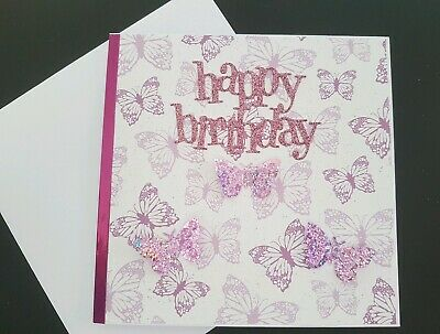Happy Birthday Handmade Butterfly Butterflies Card Pink 3D Mum Sister Friend