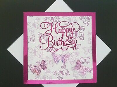 Happy Birthday Card Handmade Butterfly Butterflies 3D Mum Sister Friend Niece