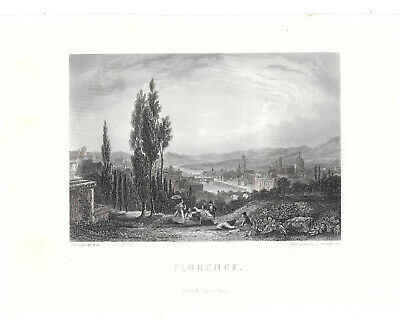 6 fine steelengraving Italian cities 1857