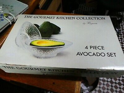 4 Italian Glass Avocado Dishes from Rayware Gourmet Kitchen Collection, boxed.