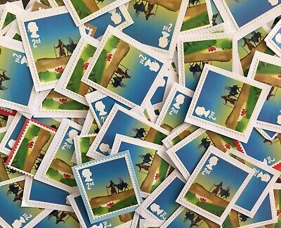 100 x UNFRANKED 2nd/SECOND CLASS XMAS STAMPS ON PAPER - FACE VALUE £61