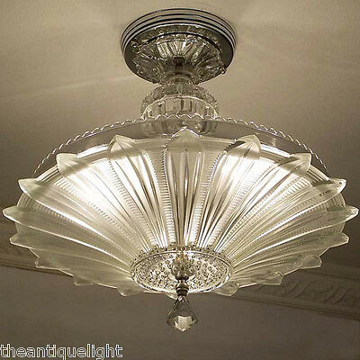 334 Vintage 30's 40's Ceiling Light Lamp Fixture  Chandelier Re-Wired SUNFLOWER