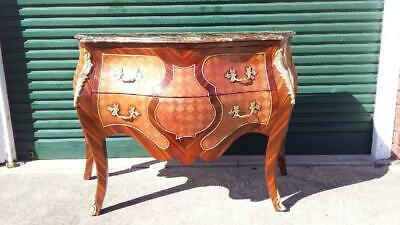 Large French Style Mahogany Brown Marble Top Marquetry & Ormolu Commode/Bombe