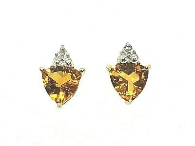 CITRINE AND DIAMOND ACCENTS STUD EARRINGS REAL SOLID 10 k GOLD 2.1 g