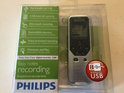 Philips 4GB Portable Easy Notes Digital Voice Recorder 1200