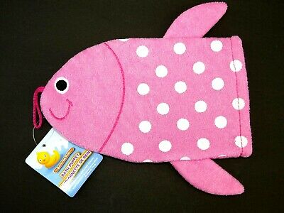 NEW Fish Terrycloth Bath Puppet Mitten Mitt Kid Baby Child Bathtime Bath Fun