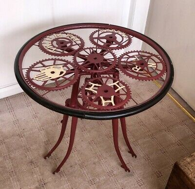 HandMade Garden Retro Steel Table And Chairs Set Made Out Of Vintage Chain Rings