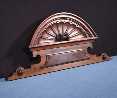 "*25"" French Antique Pediment/Crest in Walnut Wood with Shell Salvage"