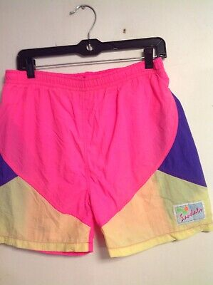db02176d8b vintage 1980's 80's neon shorts swim trunks swimsuit medium large pink  purple