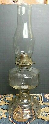 Antique Oil Lamp Aladdin Clear Pressed Glass Base Unknown Riser W/Chimney