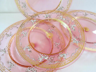 Set Of 4 Antique Italian Pink Glass Plates Hand Painted Enamel & Gold Decoration