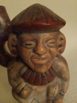 Arica Chile Effigy Pipe Stirrup Spout Stoneware Vessel