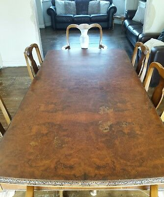 Reproduction Queen Ann Walnut Dining Room Table 4 Chairs And 2 Carvers