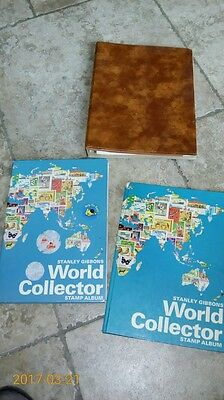 3 Stanley Gibbons Stamp Albums Of New & Used Stamps International & Worldwide