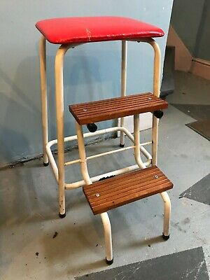 Super Vintage Kitchen Step Stool With Folding Steps Red Vinyl Seat Pdpeps Interior Chair Design Pdpepsorg