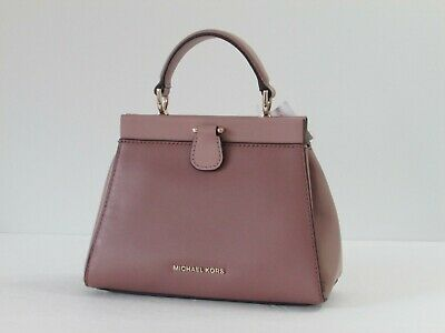 4124b92a1643da NEW Michael Kors Gramercy Frame Leather Small Satchel Crossbody Shoulder  Purse