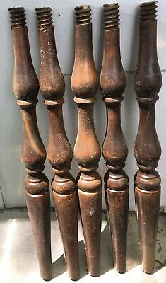 5 Architectural Salvage Wood Turned Threaded Spindles Furniture Repurpose 17.75""