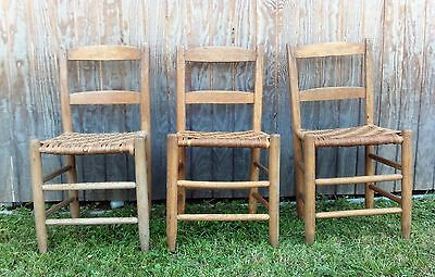 Set Of 3 Vintage Oak Ladder Back Chairs W/ Woven Cane/Reed Bottom Seat