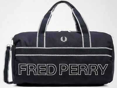 249cc9a5f FRED PERRY 2019 Sports Canvas Barrel Bag Navy Gym LAPTOP Work Travel Office  SALE