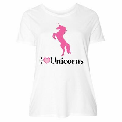 a77ee4d50 Inktastic I Love Unicorns Women's Plus Size T-Shirt Unicorn Lover Heart  Animals