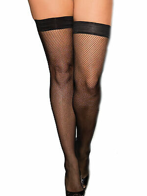 Plus Size Fishnet Stay Up Silicone Metal Studded Backseam Thigh High Stockings
