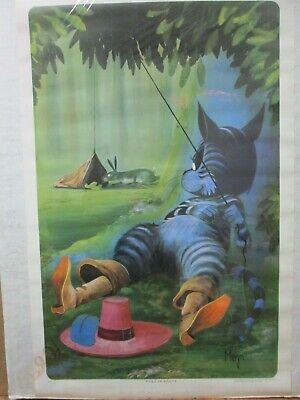 White Cat Puss in Boots Theater Playbill  Vintage Poster Repro FREE SH in USA