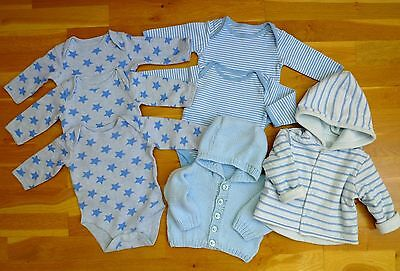 7 Items Baby Boy Bundle: 5 Mothercare Bodysuits/Velour Coat/Knitted Cardigan 0-3