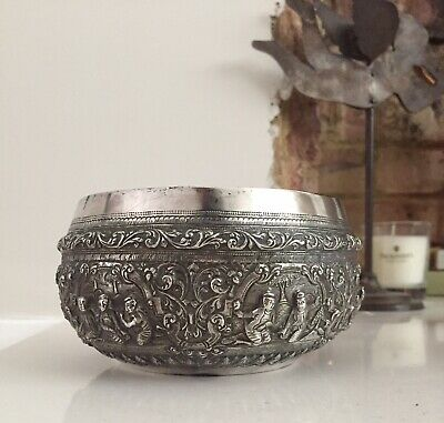 ANTIQUE 19th CENTURY BURMESE SOLID SILVER THABEIK BOWL, RANGOON c.1900