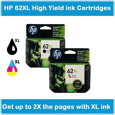 HP 62XL High-Yield Single or Multi-Pack Ink Cartridges (Black or Color) EXP 2020