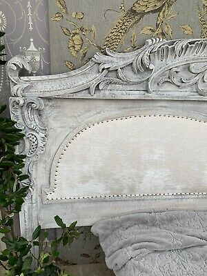 Massive Carved Antique French Oak Upholstered Headboard 2.7m Wide