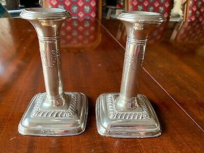 Pair Small & Pretty Antique Silver Edwardian Style Candlesticks Birmingham 1914