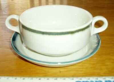 """Blue Pacific/Country Club 1970's Cereal/Dessert/Soup Bowl 11cm 4.5"""" with Saucer"""