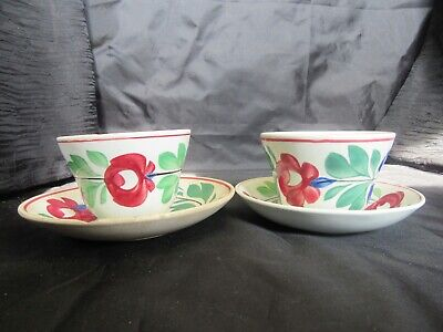 Antique 19th Century Adams Rose Pair Staffordshire Cup & Saucer (1) Chipped